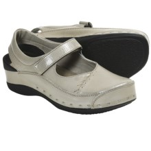 Wolky Strap Cloggy Clogs (For Women) in Pearl Grey Varnished - Closeouts