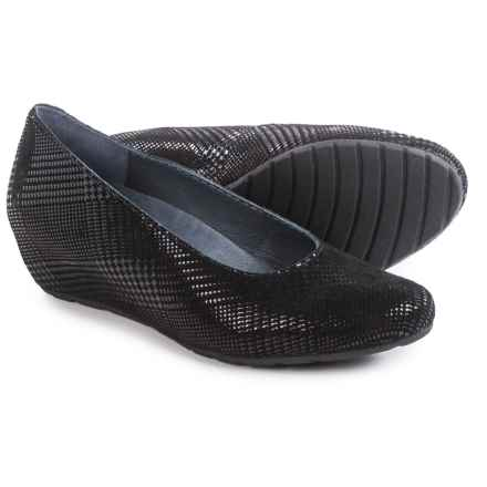Wolky Valentine Wedge-Heel Shoes - Leather, Slip-Ons (For Women) in Black Dessin - Closeouts