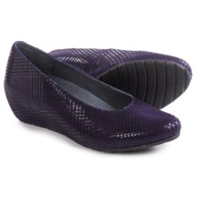 Wolky Valentine Wedge-Heel Shoes - Leather, Slip-Ons (For Women) in Purple Dessin - Closeouts
