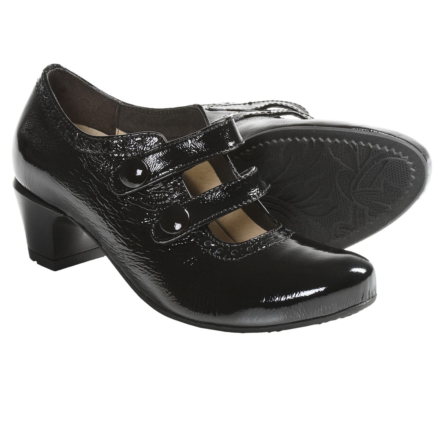 Wolky Waltz 2-Strap Shoes - Patent Leather (For Women) in Black Patent
