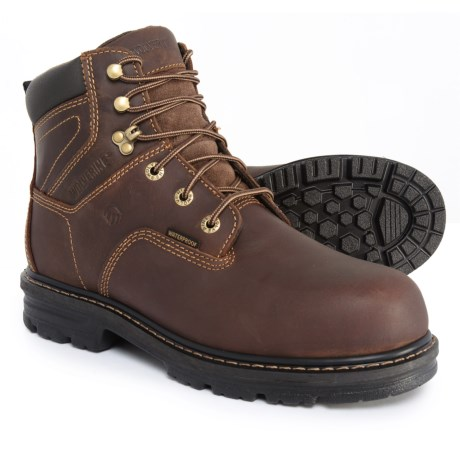 "Wolverine 6"" Nolan Work Boots - Waterproof, Leather, Composite Safety Toe (For Men) in Dark Brown"