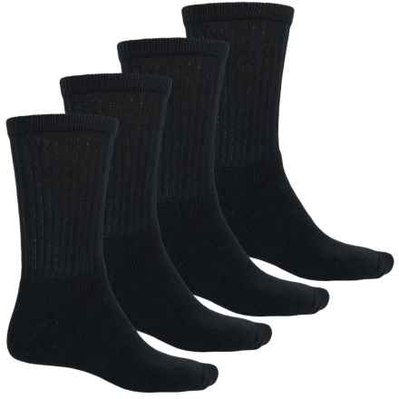 Wolverine Full Cushion Crew Socks - 4-Pack, Cotton Blend (For Men) in Black - Closeouts