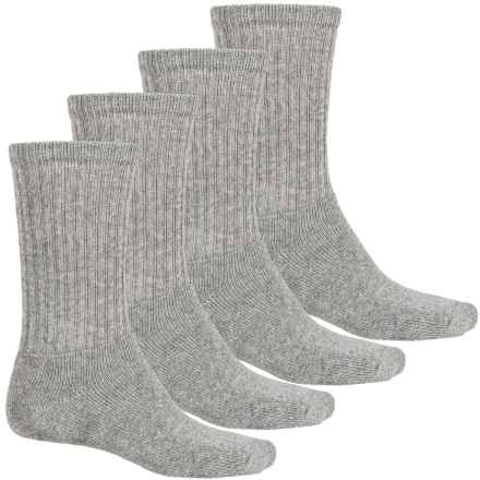 Wolverine Full Cushion Crew Socks - 4-Pack, Cotton Blend (For Men) in Grey - Closeouts