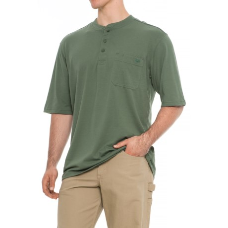 Wolverine Knox Henley Shirt - Short Sleeve (For Big and Tall Men) in Sage