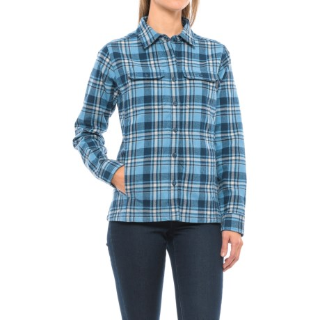 Wolverine Redwood Plaid Flannel Shirt - Long Sleeve (For Women) in Bluebell