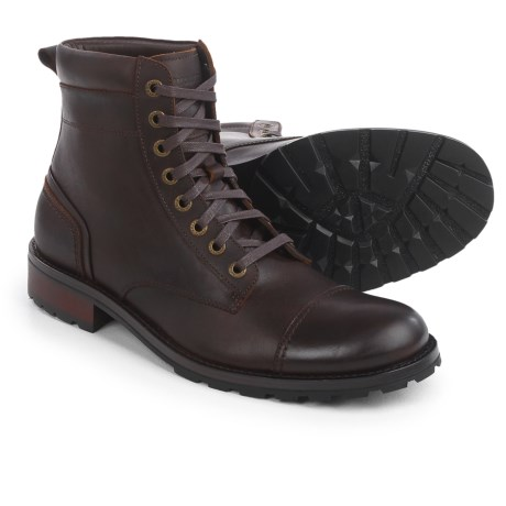 wolverine reese cap toe lace boots leather for men in brown