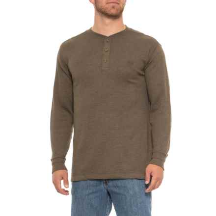 Wolverine Walden Grid Knit Henley Shirt - Long Sleeve (For Men) in Peat - Closeouts