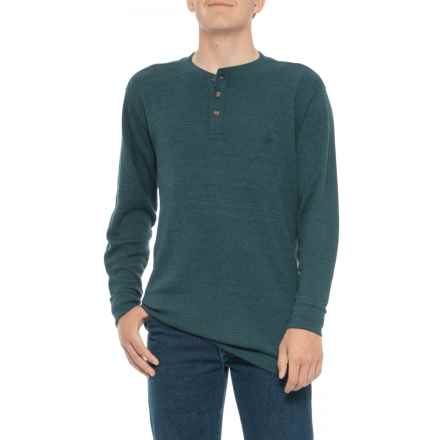 Wolverine Walden Henley Shirt - Long Sleeve (For Big and Tall Men) in Ink Heather - Closeouts