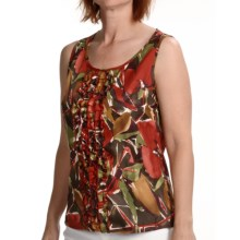 Womyn Twill Print Shirt - Multi-Ruffle, Sleeveless (For Women) in Red/Green/Brown Mulit - Closeouts