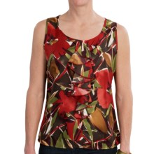 Womyn Twill Print Shirt - Single Ruffle, Sleeveless (For Women) in Red/Green/Brown Mulit - Closeouts