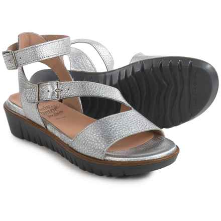 Wonders Cross Ankle Strap Sandals - Leather (For Women) in Silver/Black - Closeouts