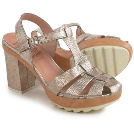 Wonders Strappy Platform Sandals - Leather (For Women) in Silver Patent - Closeouts