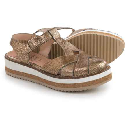 Wonders T-Strap Flatform Sandals - Leather (For Women) in Metallic Gold - Closeouts