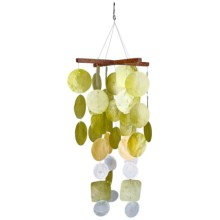 "Woodstock Chimes Capiz Wind Chime - 21"" in Green/Yellow - Closeouts"