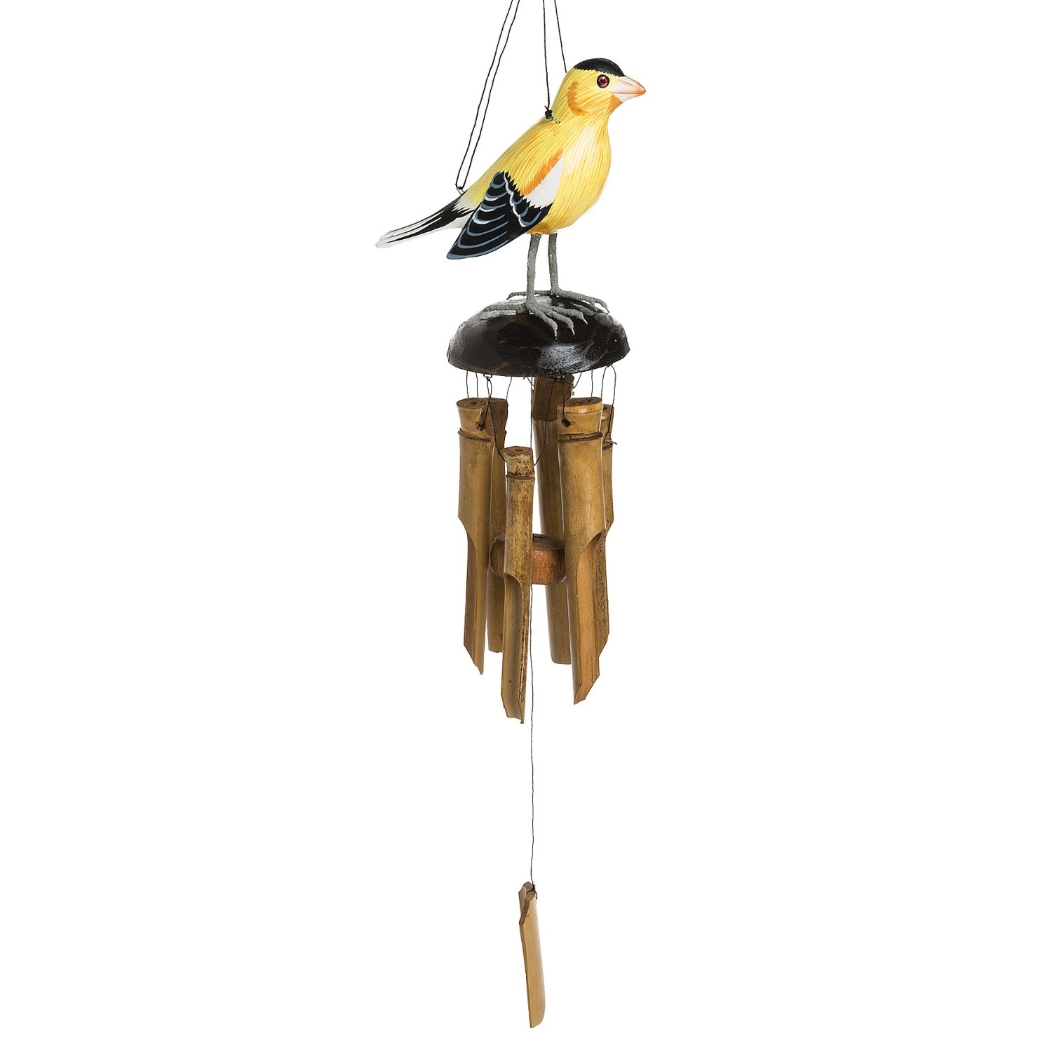 Woodstock chimes hand carved wood goldfinch wind chime