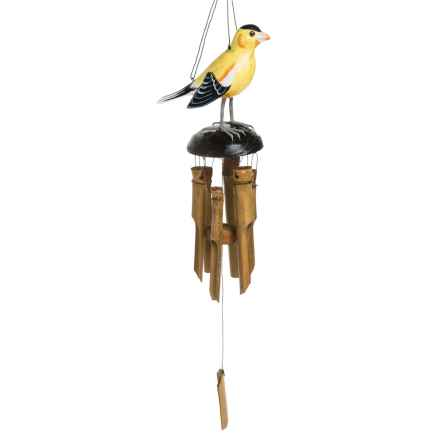 """Woodstock Chimes Hand-Carved Wood Goldfinch Wind Chime - 25"""" in Goldfinch - Overstock"""