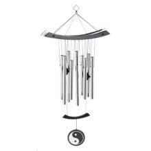 "Woodstock Chimes Yin Yang Wind Chime - 31"" in Black / Silver - Overstock"