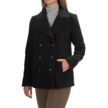Wool Blend Double-Breasted Jacket (For Women) in Black - 2nds