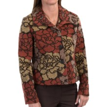 Wool Blend Floral Jacquard Jacket (For Women) in Red/Black Multi - 2nds