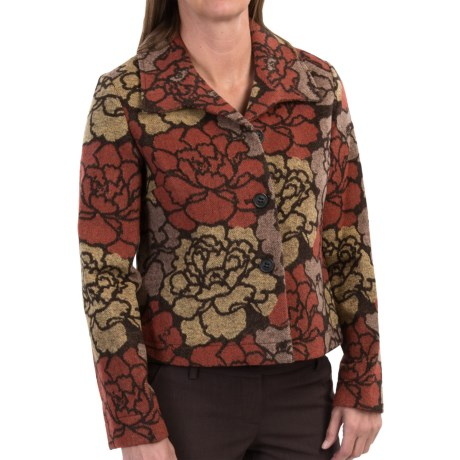 Wool Blend Floral Jacquard Jacket (For Women)
