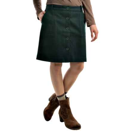 Wool Blend Skirt - Button Front (For Women) in Dark Green - 2nds