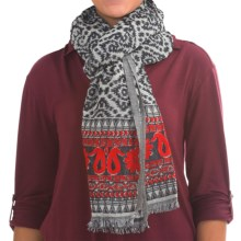 Wool Border Print Scarf (For Women) in Black - 2nds