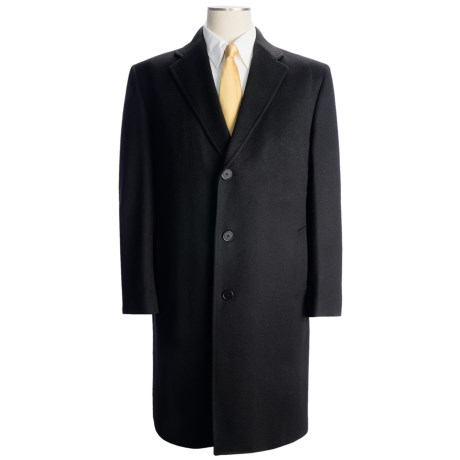 Wool-Cashmere Top Coat (For Men) in Black