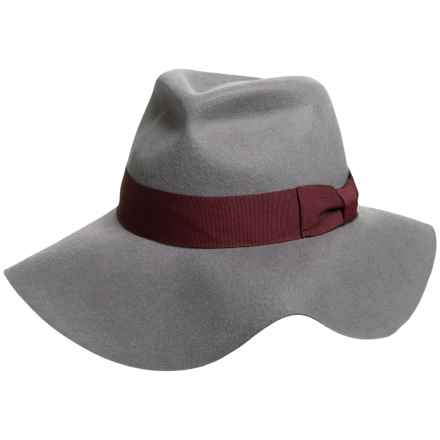 Wool Felt Floppy Fedora - Wide Brim with Raw Edge (For Women) in Grey - 2nds