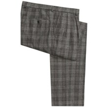 Wool Flannel Pants - Pleated (For Men) in Black/Grey Houndstooth Glennplaid - 2nds