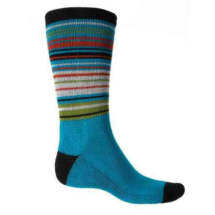 Woolmax Fashion Wool Socks - Merino Wool, Crew (For Women) in Tile Blue Stripe - Closeouts