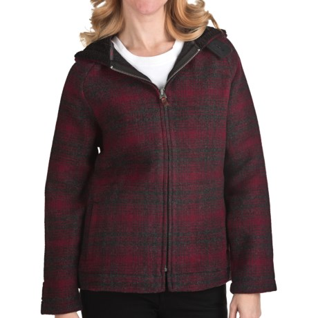 Woolrich Acorn Hill Hooded Jacket - Wool (For Women) in Charcoal Hunt Plaid