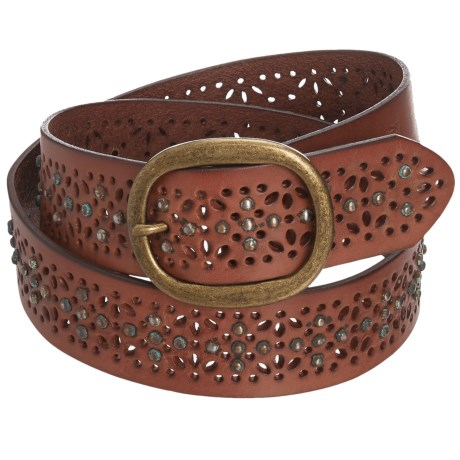 Woolrich Alderglen Leather Belt (For Women) in Mahagony