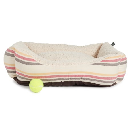 "Woolrich Alleghany Stripe Rectangle Dog Bed - 23x28"" in Cream"