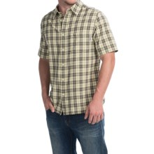 Woolrich Amblewood Madras Plaid Shirt - Short Sleeve (For Men) in Vanilla - Closeouts