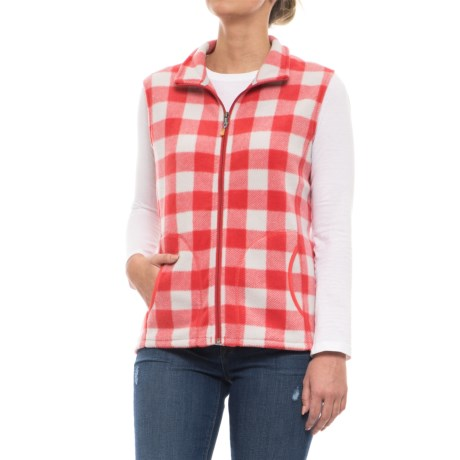 Woolrich Andes Printed Fleece Vest - Full Zip (For Women) in Hot Guava