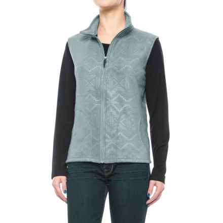 Woolrich Andes Printed Fleece Vest - Full Zip (For Women) in Stoneware - Closeouts