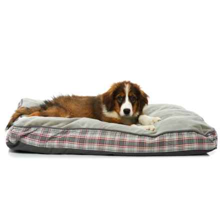 """Woolrich Aspen Plaid Gusset Pillow Dog Bed - 36x27"""" in Gray - Closeouts"""