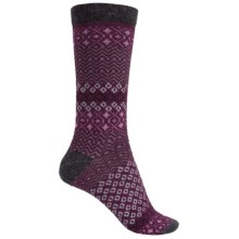 Woolrich Aztec Socks - Merino Wool Blend, Crew (For Women) in Charcoal/Wine - Closeouts