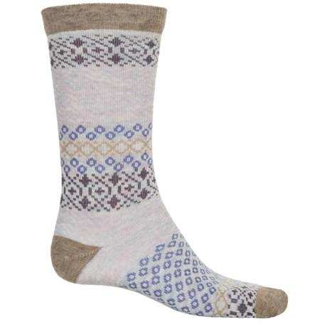 Woolrich Aztec Socks - Merino Wool, Crew (For Women) in Khaki/Winter White