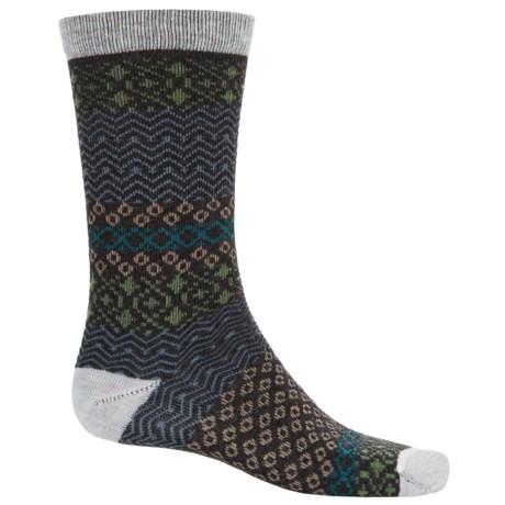 Woolrich Aztec Socks - Merino Wool, Crew (For Women) in Winter White/Charcoal