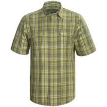 Woolrich Back Track Plaid Shirt - UPF 30+, Organic Cotton, Short Sleeve (For Men) in Pesto - Closeouts