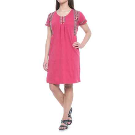 Woolrich Bell Canyon Eco Rich Dress - Organic Cotton, Short Sleeve (For Women) in Dragon Fruit - Closeouts