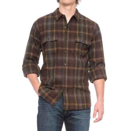 Woolrich Bering Plaid Wool Shirt - Long Sleeve (For Men) in Dark Walnut - Closeouts