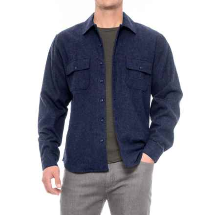 Woolrich Bering Plaid Wool Shirt - Long Sleeve (For Men) in Solid Deep Indigo - Closeouts