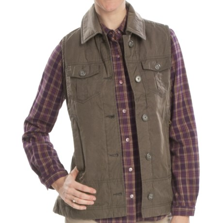 Woolrich Blacktail Vest - Waxed Twill, Insulated (For Women) in Onyx