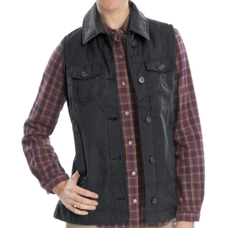 Woolrich Blacktail Vest - Waxed Twill, Insulated (For Women) in Dark Roast