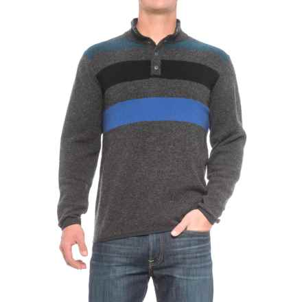 Woolrich Blanket Sweater - Lambswool, Snap Neck (For Men) in Charcoal Stripe - Closeouts