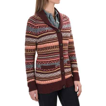 Woolrich Blazing Star Fair Isle Cardigan Sweater (For Women) in Fig Multi - Closeouts