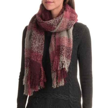 Woolrich Boucle Plaid Wrap Scarf (For Women) in Cranberry - Closeouts