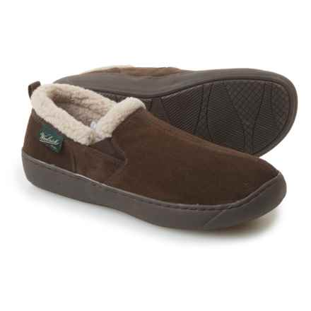 Woolrich Buck Run Slippers - Suede, Fleece Lined (For Men) in Chocolate - Closeouts